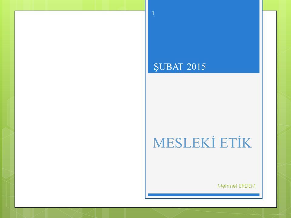 ŞUBAT 2015 MESLEKİ ETİK Mehmet ERDEM