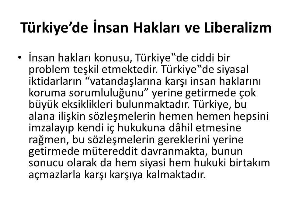 Türkiye'de İnsan Hakları ve Liberalizm