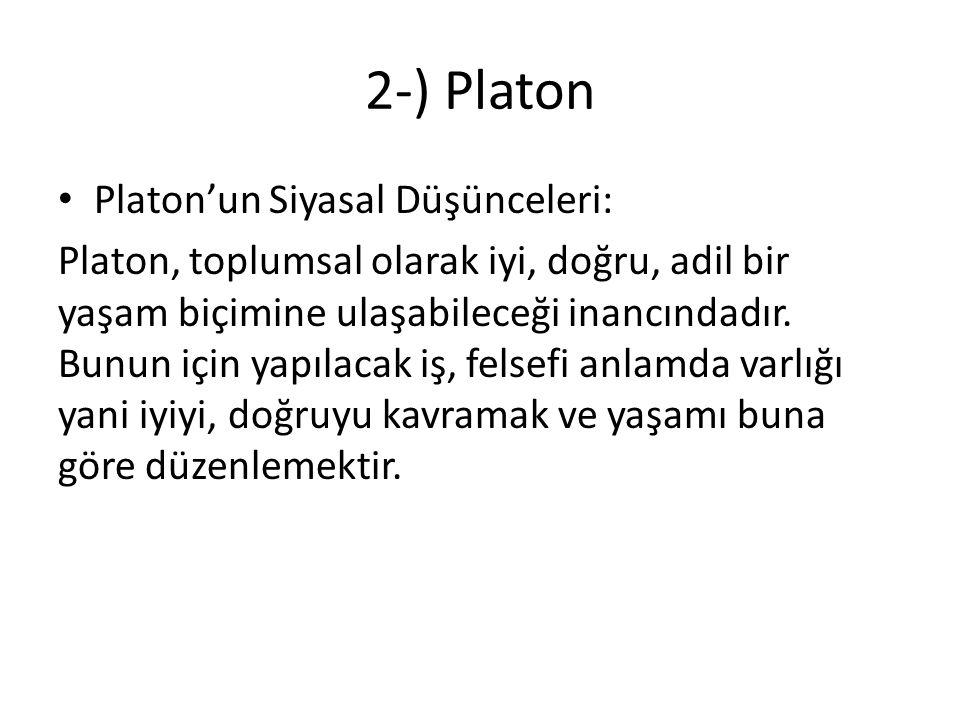 2-) Platon Platon'un Siyasal Düşünceleri:
