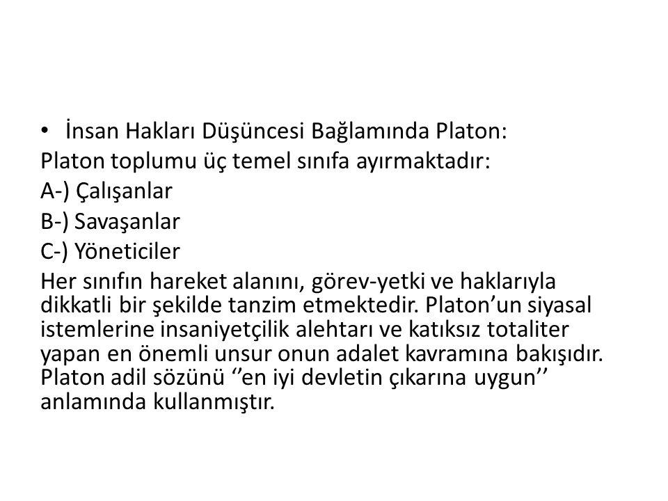 İnsan Hakları Düşüncesi Bağlamında Platon: