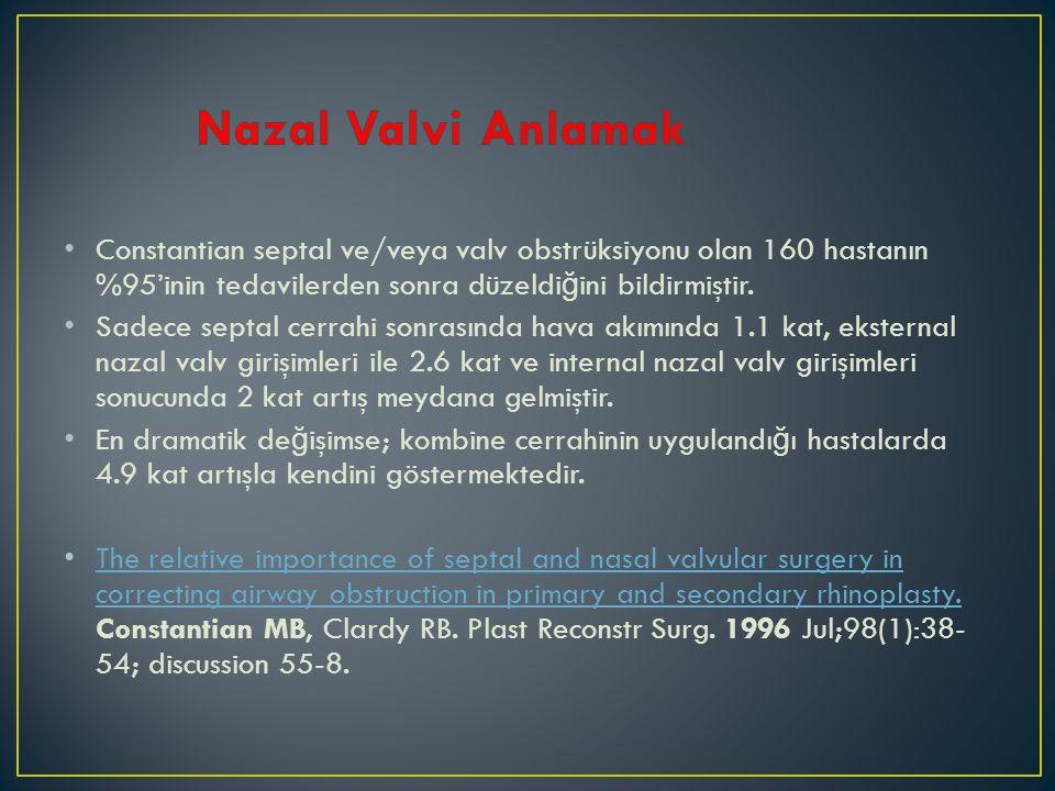 Nazal Valvi Anlamak Constantian septal ve/veya valv obstrüksiyonu olan 160 hastanın %95'inin tedavilerden sonra düzeldiğini bildirmiştir.