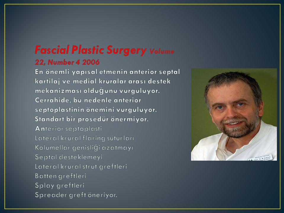 Fascial Plastic Surgery Volume 22, Number 4 2006 En önemli yapısal etmenin anterior septal kartilaj ve medial kruralar arası destek mekanizması olduğunu vurguluyor.