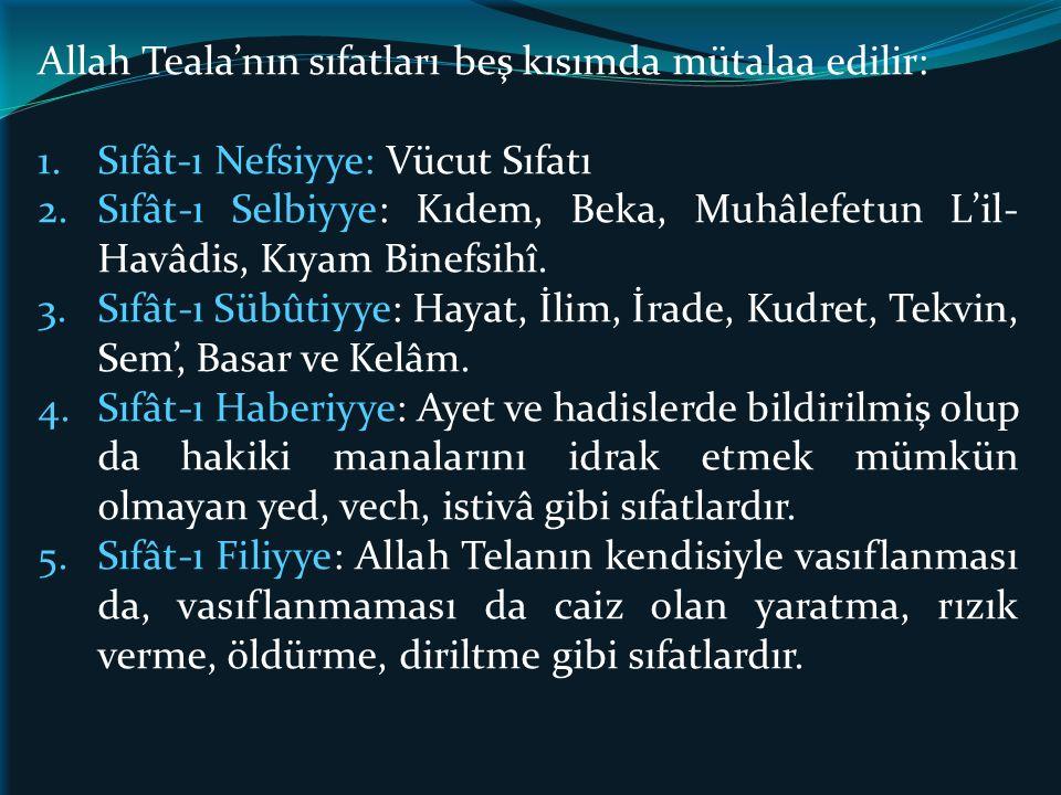 Allah Teala'nın sıfatları beş kısımda mütalaa edilir: