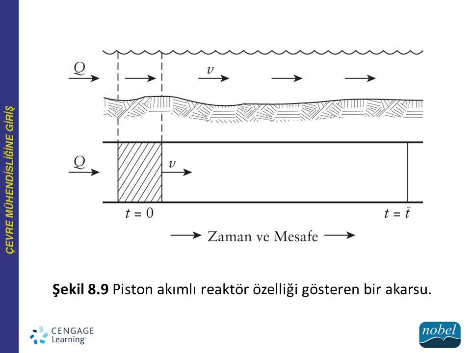 Şekil 8.9 Piston akımlı reaktör özelliği gösteren bir akarsu.