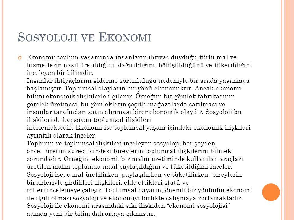 Sosyoloji ve Ekonomi