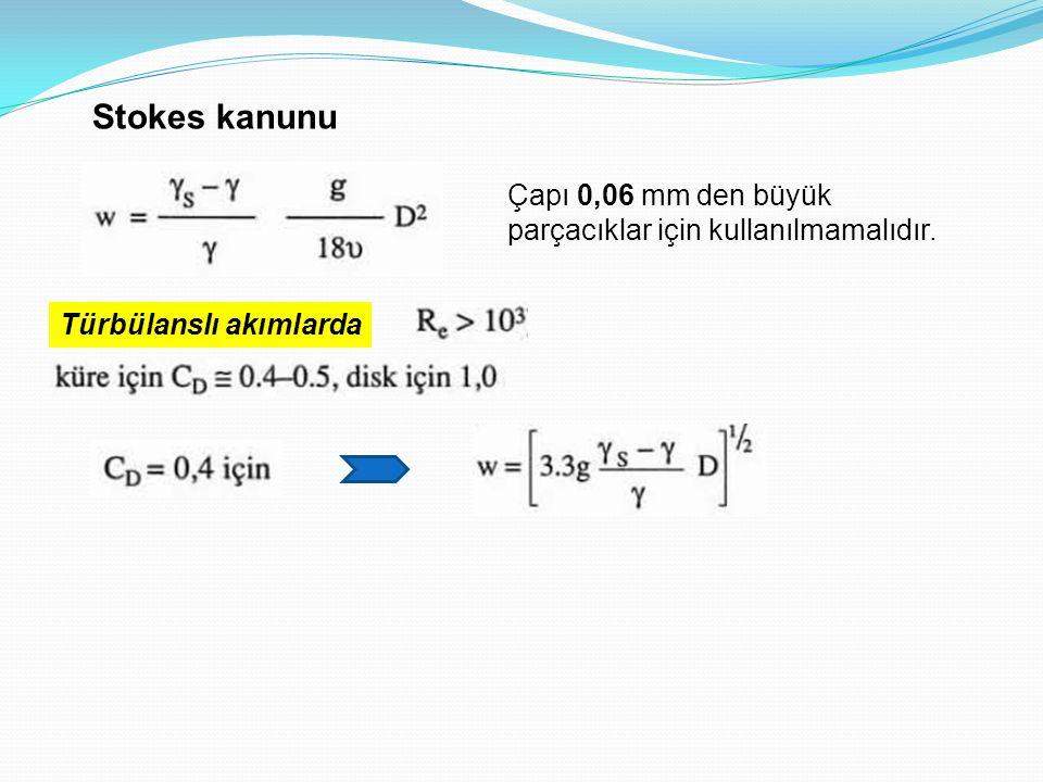 Stokes kanunu Çapı 0,06 mm den büyük parçacıklar için kullanılmamalıdır. Türbülanslı akımlarda