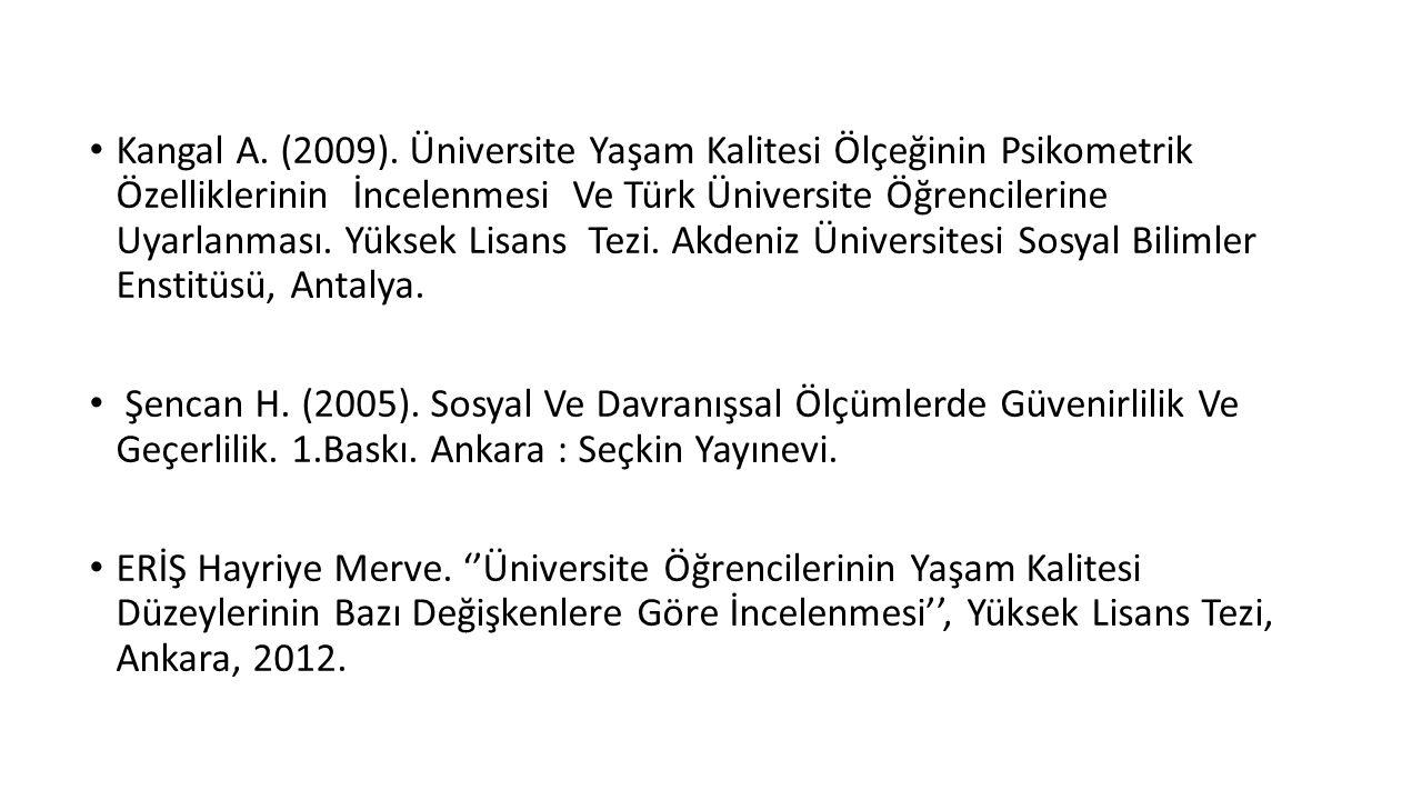 Kangal A. (2009). Üniversite Yaşam Kalitesi Ölçeğinin Psikometrik Özelliklerinin İncelenmesi Ve Türk Üniversite Öğrencilerine Uyarlanması. Yüksek Lisans Tezi. Akdeniz Üniversitesi Sosyal Bilimler Enstitüsü, Antalya.