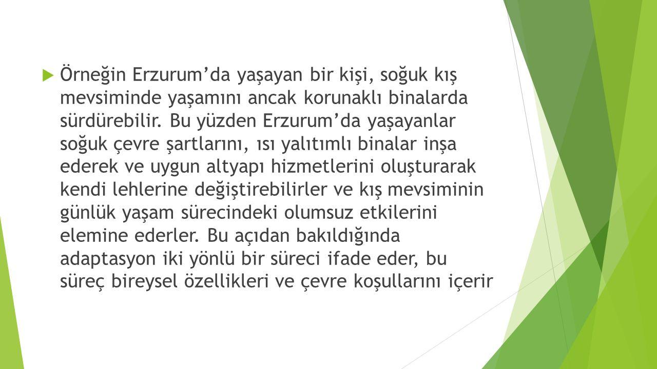 Örneğin Erzurum'da yaşayan bir kişi, soğuk kış mevsiminde yaşamını ancak korunaklı binalarda sürdürebilir.