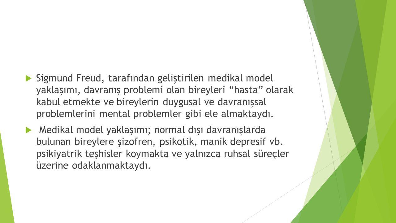 Sigmund Freud, tarafından geliştirilen medikal model yaklaşımı, davranış problemi olan bireyleri hasta olarak kabul etmekte ve bireylerin duygusal ve davranışsal problemlerini mental problemler gibi ele almaktaydı.