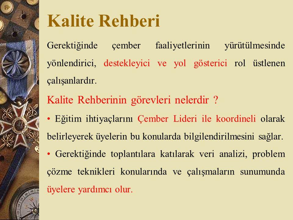 Kalite Rehberi Kalite Rehberinin görevleri nelerdir