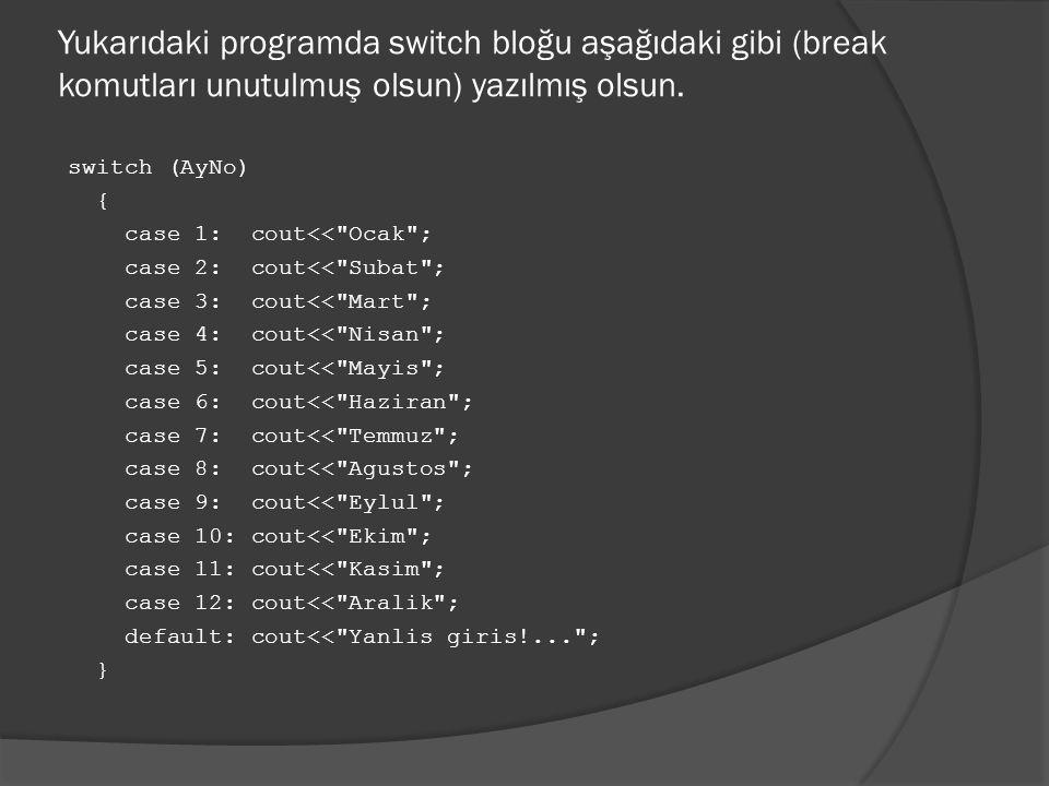Yukarıdaki programda switch bloğu aşağıdaki gibi (break komutları unutulmuş olsun) yazılmış olsun.
