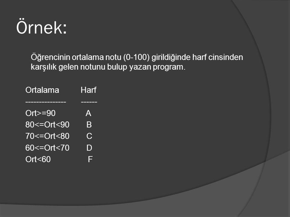 Örnek: Öğrencinin ortalama notu (0-100) girildiğinde harf cinsinden karşılık gelen notunu bulup yazan program.