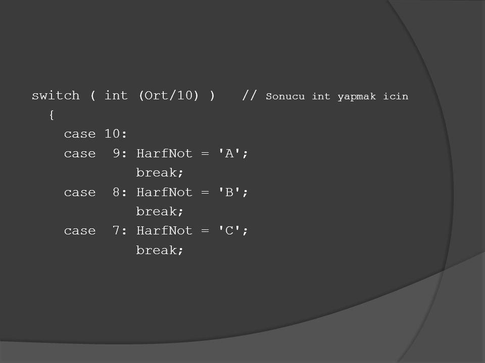 switch ( int (Ort/10) ) // Sonucu int yapmak icin { case 10: case 9: HarfNot = A ; break; case 8: HarfNot = B ; case 7: HarfNot = C ;