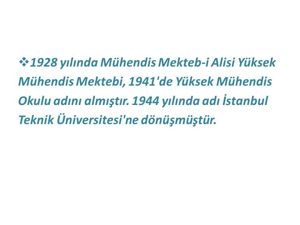 1928 yılında Mühendis Mekteb-i Alisi Yüksek