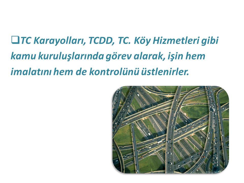 TC Karayolları, TCDD, TC. Köy Hizmetleri gibi