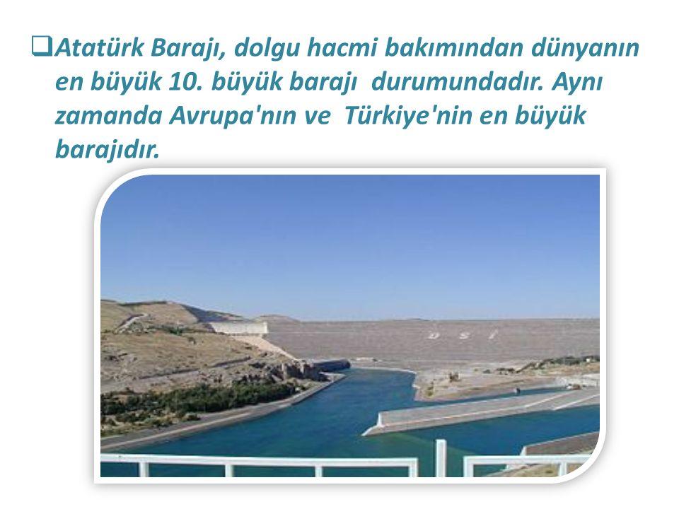 Atatürk Barajı, dolgu hacmi bakımından dünyanın en büyük 10