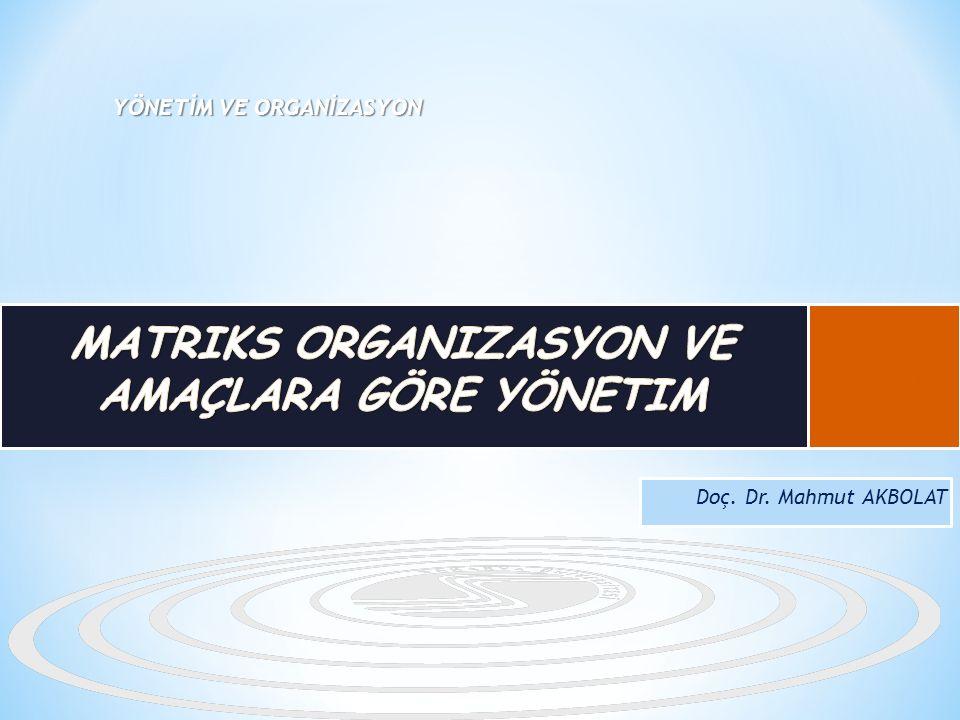 Matriks Organizasyon ve Amaçlara Göre Yönetim