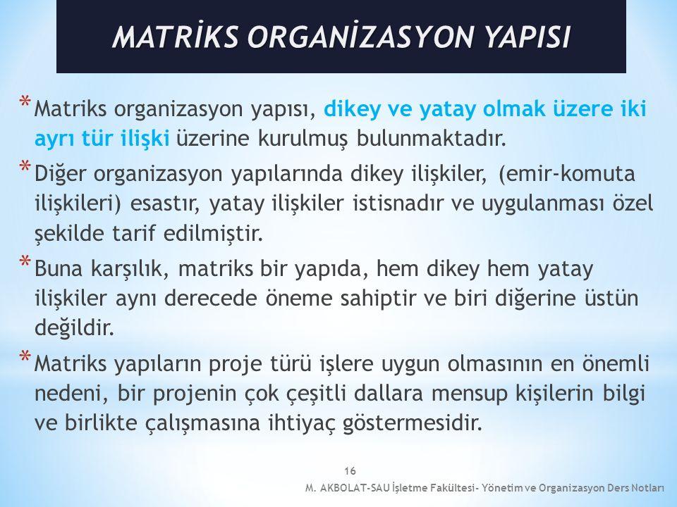 MATRİKS ORGANİZASYON YAPISI