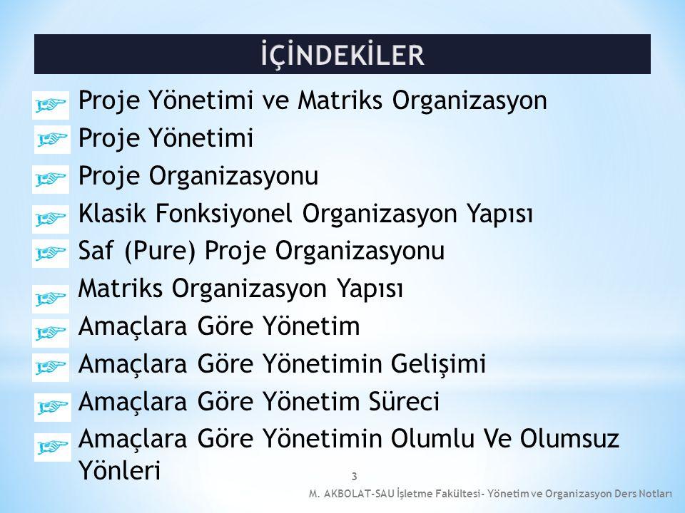 İÇİNDEKİLER Proje Yönetimi ve Matriks Organizasyon Proje Yönetimi