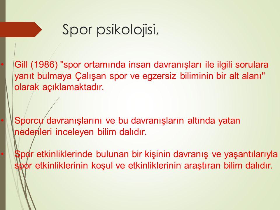 Spor psikolojisi, Gill (1986) spor ortamında insan davranışları ile ilgili sorulara.