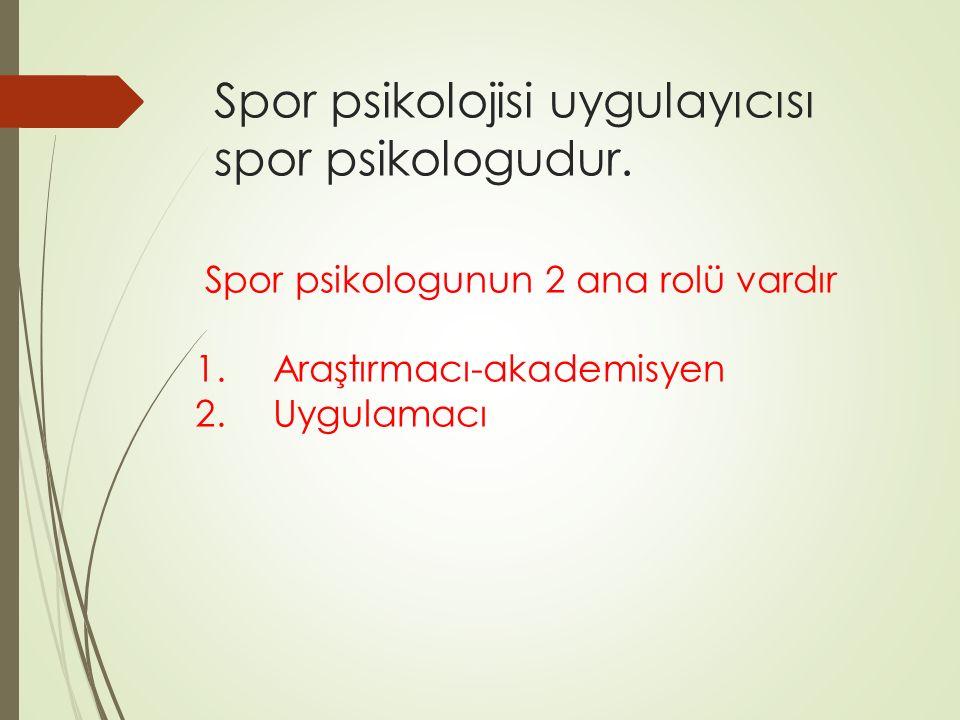 Spor psikolojisi uygulayıcısı spor psikologudur.