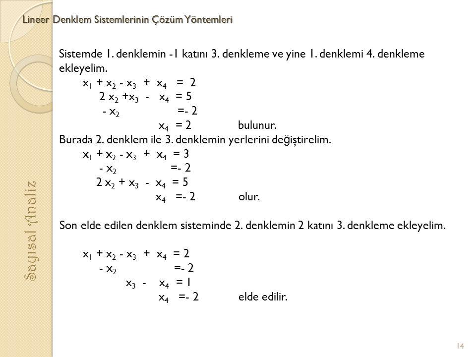 Lineer Denklem Sistemlerinin Çözüm Yöntemleri