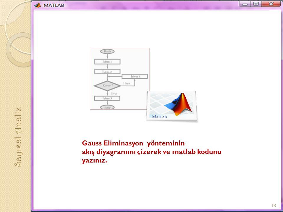 Sayısal Analiz Gauss Eliminasyon yönteminin