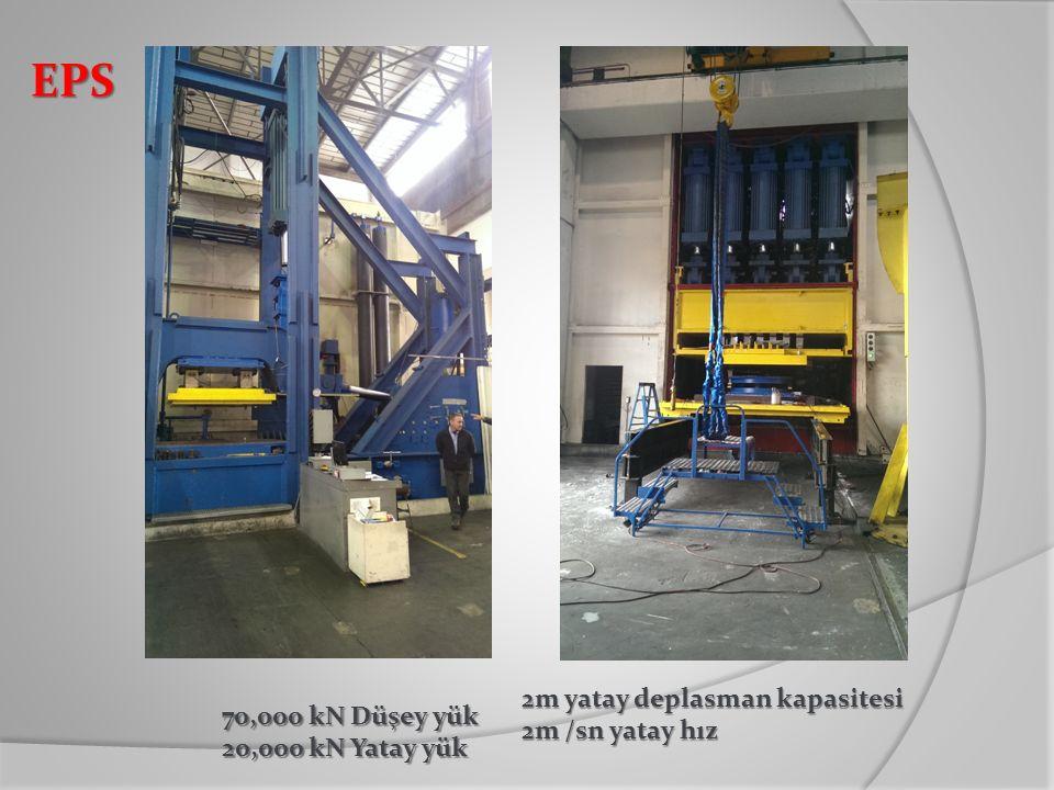 EPS 2m yatay deplasman kapasitesi 70,000 kN Düşey yük 2m /sn yatay hız