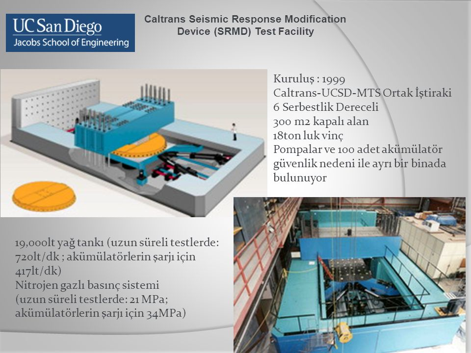 Caltrans Seismic Response Modification Device (SRMD) Test Facility