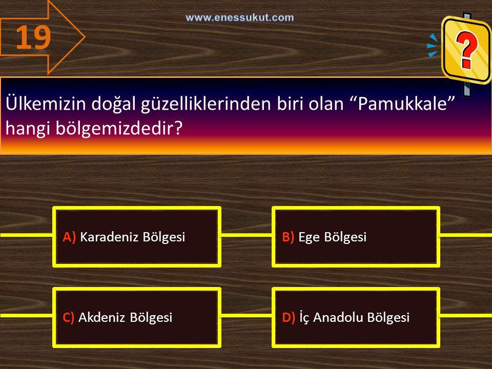 19 www.enessukut.com. Ülkemizin doğal güzelliklerinden biri olan Pamukkale hangi bölgemizdedir A) Karadeniz Bölgesi.