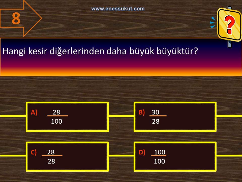 8 Hangi kesir diğerlerinden daha büyük büyüktür A) 28 100 B) 30 28