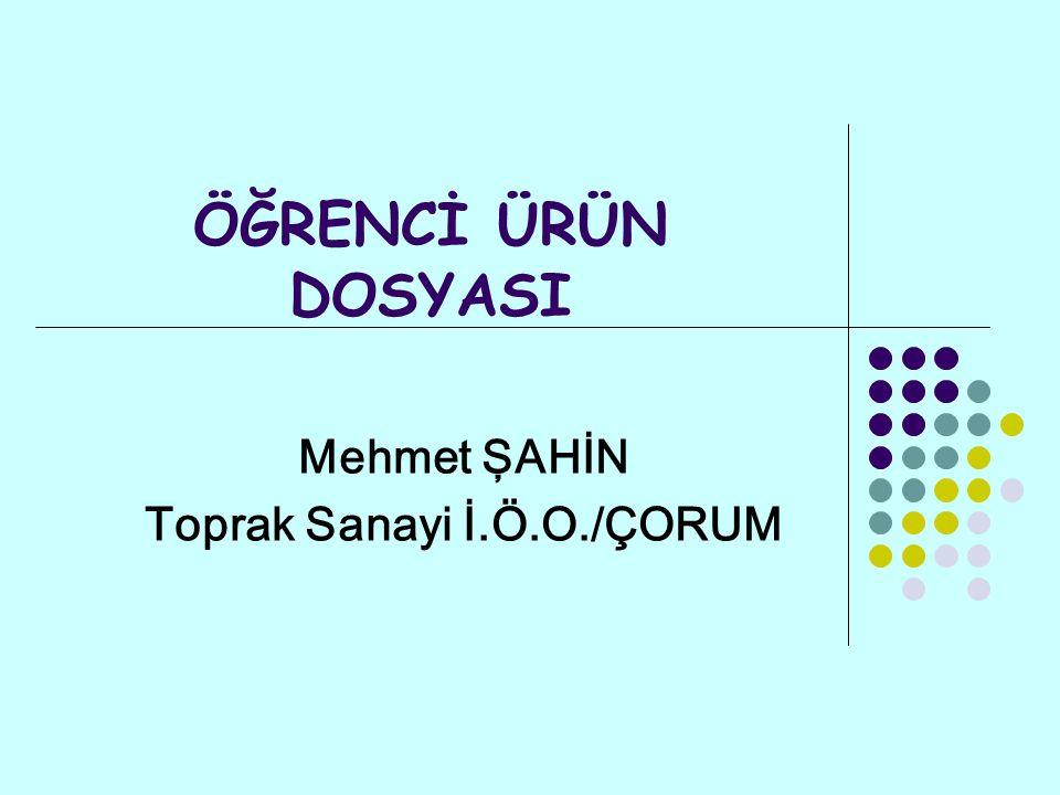 Mehmet ŞAHİN Toprak Sanayi İ.Ö.O./ÇORUM