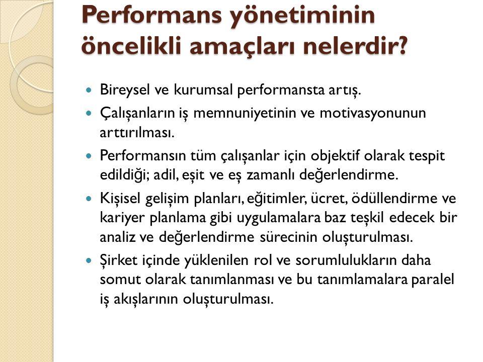 Performans yönetiminin öncelikli amaçları nelerdir