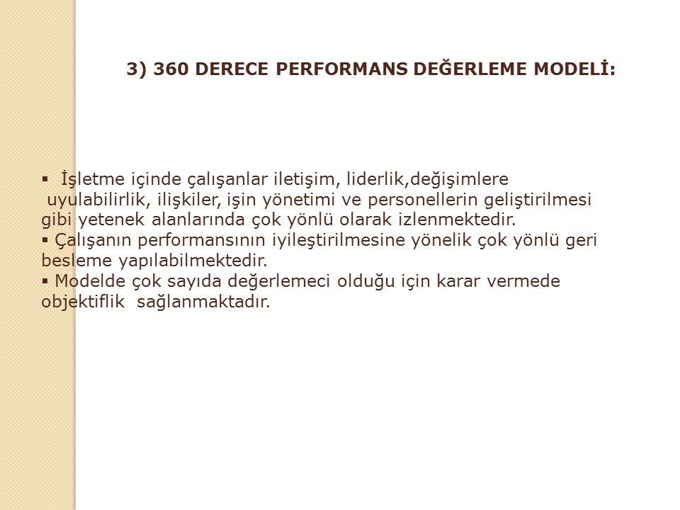 3) 360 DERECE PERFORMANS DEĞERLEME MODELİ: