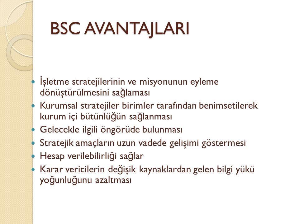 BSC AVANTAJLARI İşletme stratejilerinin ve misyonunun eyleme dönüştürülmesini sağlaması.
