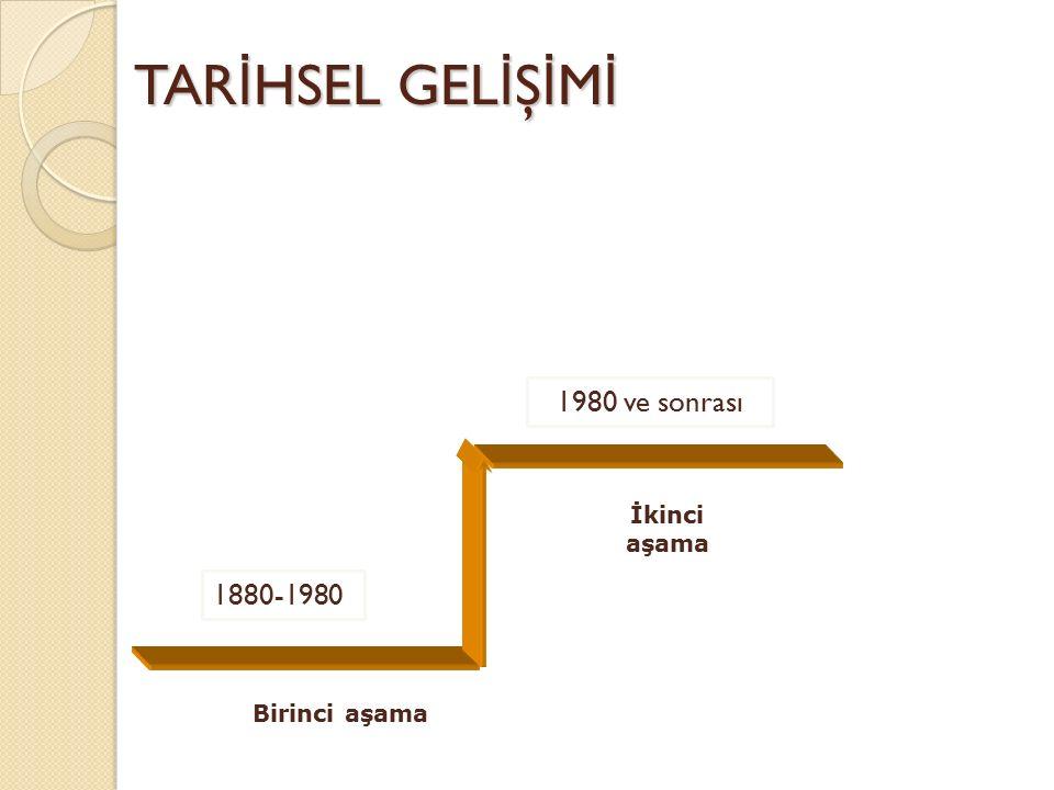 TARİHSEL GELİŞİMİ 1980 ve sonrası İkinci aşama 1880-1980 Birinci aşama