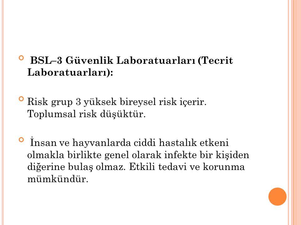BSL–3 Güvenlik Laboratuarları (Tecrit Laboratuarları):
