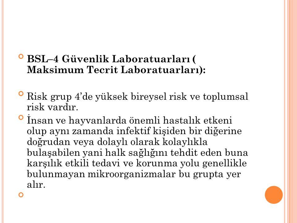 BSL–4 Güvenlik Laboratuarları ( Maksimum Tecrit Laboratuarları):