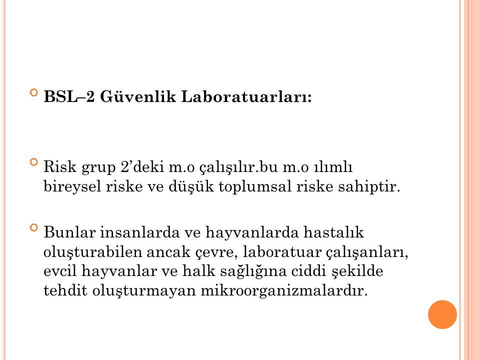 BSL–2 Güvenlik Laboratuarları: