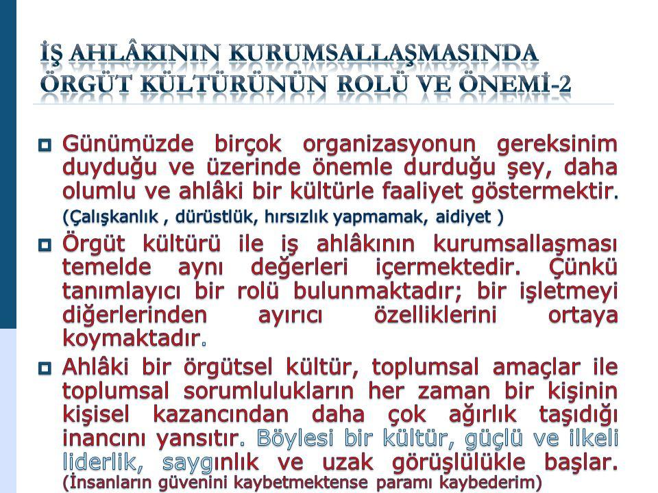 İŞ AHLÂKININ KURUMSALLAŞMASINDA ÖRGÜT KÜLTÜRÜNÜN ROLÜ VE ÖNEMİ-2