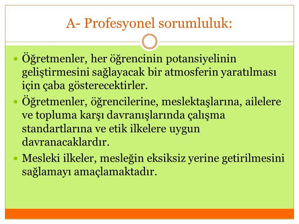 A- Profesyonel sorumluluk: