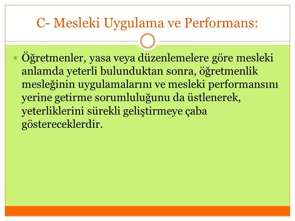 C- Mesleki Uygulama ve Performans: