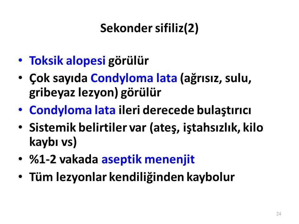 Sekonder sifiliz(2) Toksik alopesi görülür. Çok sayıda Condyloma lata (ağrısız, sulu, gribeyaz lezyon) görülür.