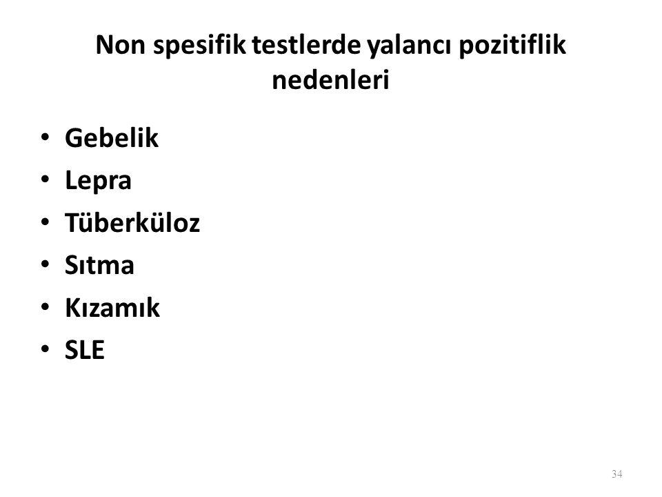 Non spesifik testlerde yalancı pozitiflik nedenleri