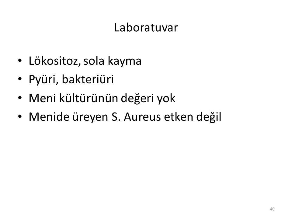 Laboratuvar Lökositoz, sola kayma. Pyüri, bakteriüri.