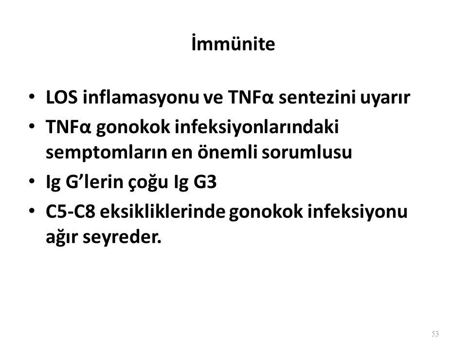 İmmünite LOS inflamasyonu ve TNFα sentezini uyarır. TNFα gonokok infeksiyonlarındaki semptomların en önemli sorumlusu.