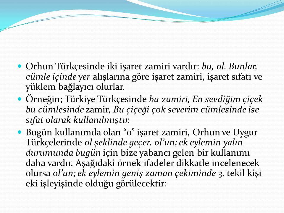 Orhun Türkçesinde iki işaret zamiri vardır: bu, ol