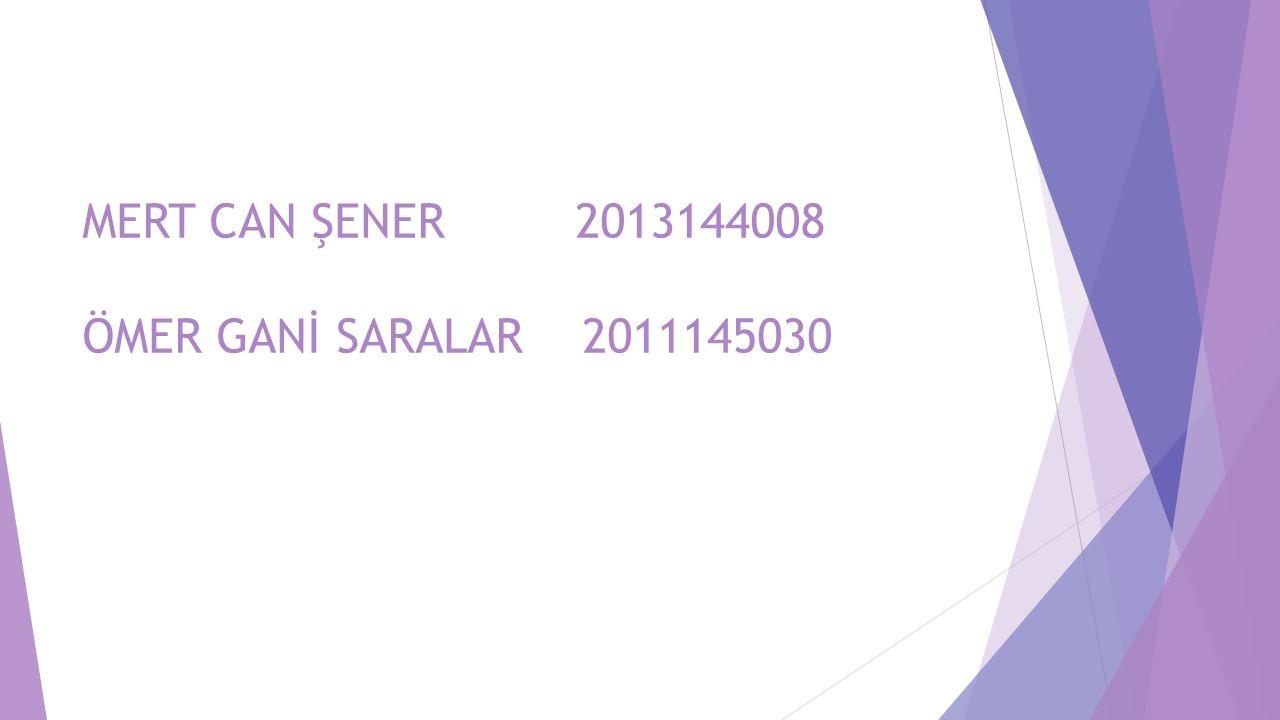 MERT CAN ŞENER 2013144008 ÖMER GANİ SARALAR 2011145030