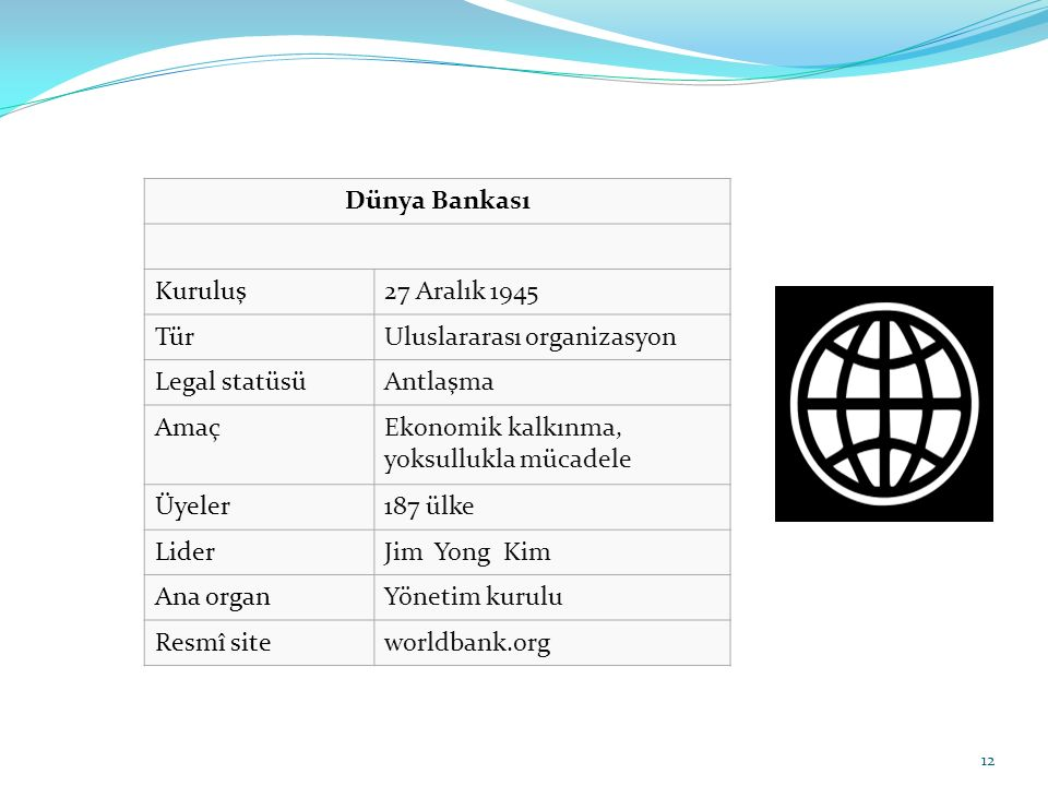 Dünya Bankası Kuruluş. 27 Aralık 1945. Tür. Uluslararası organizasyon. Legal statüsü. Antlaşma.