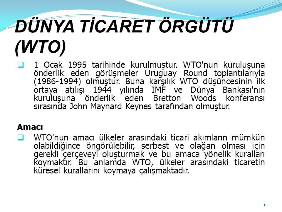 DÜNYA TİCARET ÖRGÜTÜ (WTO)